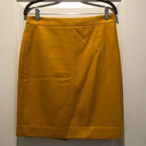 J.Crew Wool-blend Pencil Skirt Mustard Yellow sz 6